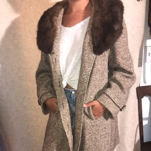 Vintage Wool Coat with Fur Collar